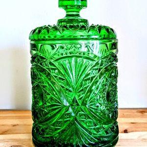 Vintage imperial glass hobstar biscuit cookie jar